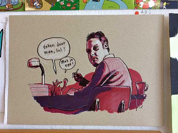 Striptekening van Jeroen Funke van een man die zich omdraait