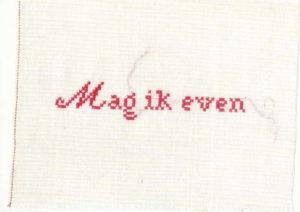 Flyer voor Mag ik even. Borduren. april-mei 2004