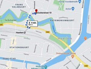 Kaart met route van Station Haarlem naar Zocherstudio