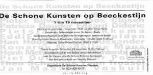 Flyer achterkant Schone Kunsten op Beeckestijn