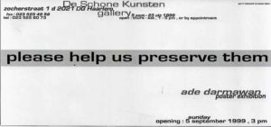 Tekst flyer Ade Darmawan achterkant